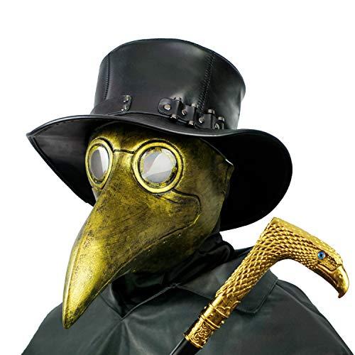 PartyHop Maschera del Medico della Peste Costume da Gas Steampunk con Becco doro per Bambini e Adulti