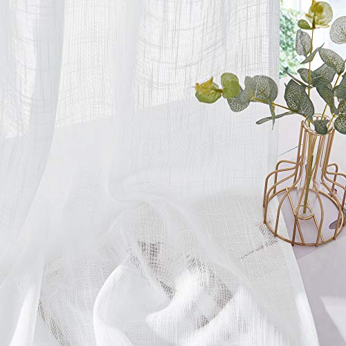 PONY DANCE Tende Bianche con Passanti  Tende Voile Blanche Decorazione da Interno Casa Cucina Salotto Camera da Letto Ufficio 2 Pannelli 132 x 213 cm L x A