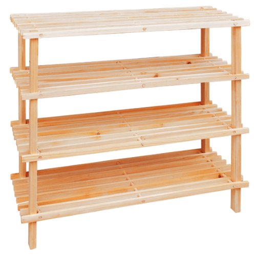 Premier Housewares Rastrelliera per scarpe in legno a 4 livelli 68 x 74 x 26 cm