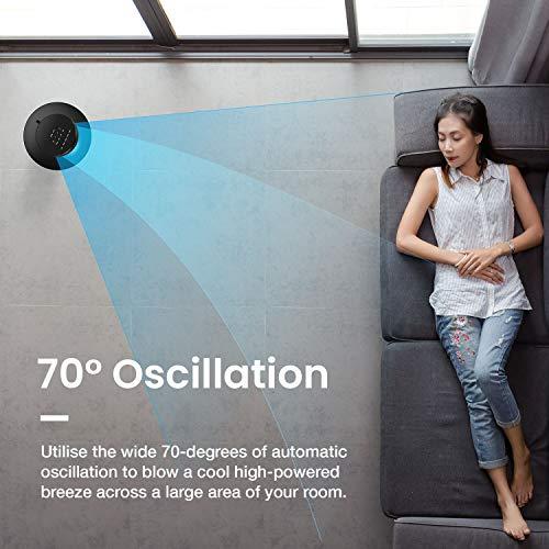Pro Breeze Ventilatore a Torre Oscillante  60W Con Timer 75 ore e Telecomando  Oscillazione a 70 Gradi e 3 Modalita di raffreddamento Altezza 76 cm