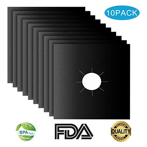 Protezioni per Fornelli a Gas 10 Piano Cottura Bruciatori Tappetino Pulito Nero 270x270x022mm Approvato dalla FDA Riutilizzabile Antiaderente per Cucina Stufe 10