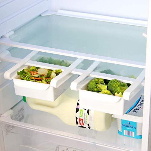 Pukkr Confezione da 4 cassetti portaoggetti frigo  Frigorifero per frutta e verdura vassoio  Comparti aggiuntivi universali