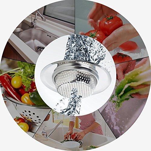 Qinglele 2 Pezzi 445 Filtro per Lavello da Cucina Cucina Sink Strainer in Acciaio Inox filtri per lavandini Vasca da Bagno o lavelli da Cucina 445113cm Grande