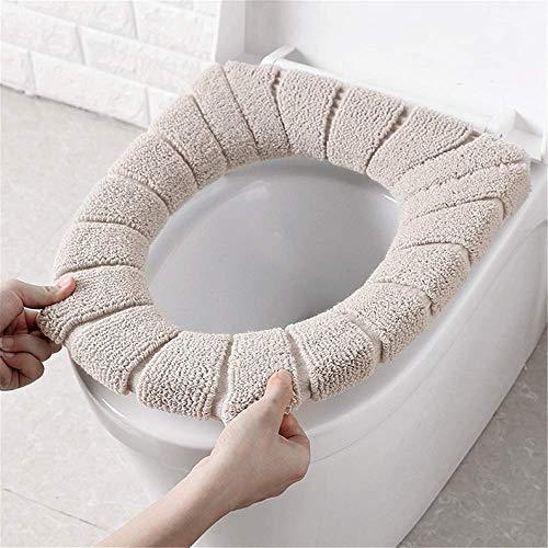Qplcdg 3 Pezzi Coprisedile per WCSpessa e Morbida Copriwater in Tessuto Anello di Fissaggio Universale Lavabile in Lavatrice