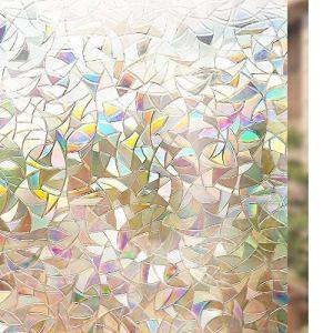 rabbitgoo Pellicola Privacy Pellicola per Finestre Vetri 3D Geometria Decorativa Autoadesive AntiUV Controllo di Calore 445cm x 200cm per Bagno Casa Cucina Ufficio