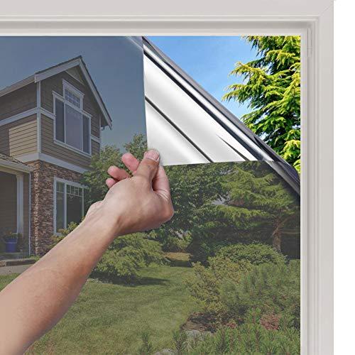 rabbitgoo Pellicola Specchio Oscurante per Finestre 445x200cm Pellicola Riflettente Finestre Anti 99 UV Pellicola Privacy Unidirezionale Controllo del Calore Adatto per Ufficio Casa