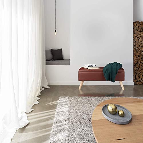 Relaxdays Panca Contenitore 40 l in Similpelle con Gambe in Legno Cassapanca Imbottita Marrone HxLxP 40 x 80 x 395 cm