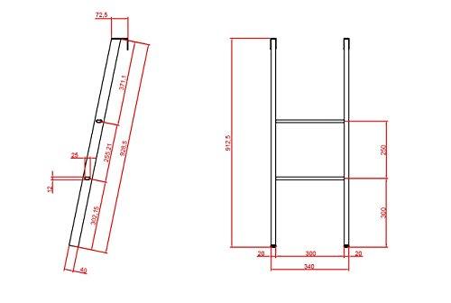 RETI GRITTI Scaletta per Letto  da Appendere da 90 a 92 cm da Terra