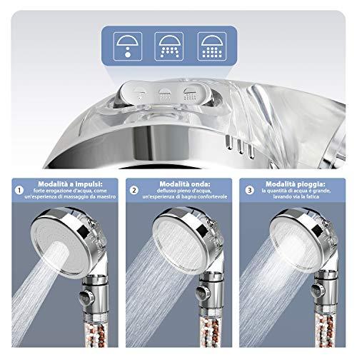 Rovtop Soffione Doccia Anticalcare Alta Pressione  Universale 3 Mode Soffione Per Doccia55 di risparmio idricoFiltro e Sfera Minerale