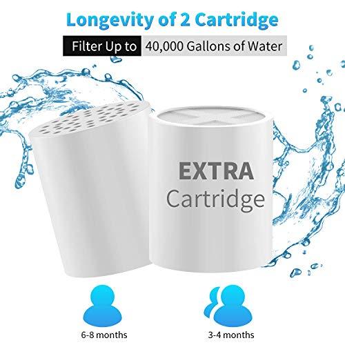 SeeKool 15 Strati Filtro Doccia Universale con 2 cartucce Regolare il pH dellacqua e Filtrare Cloro Microbi e Metalli Pesanti per Proteggere i Capelli e la Pellealta pressione