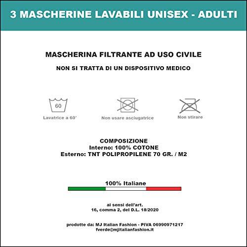 Set da 3 Mascherine Viso Bocca Naso in TNT Idrorepellente e Traspirante Lavabili e Riutilizzabili Colori  Nero e Bianco NERO ELASTICO ORECCHIE