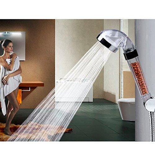 Set testa di doccia purificatore di acqua e tubo di 175m Filtro Soffione Doccia a mano manico di alta pressione con palline minerali di Ion
