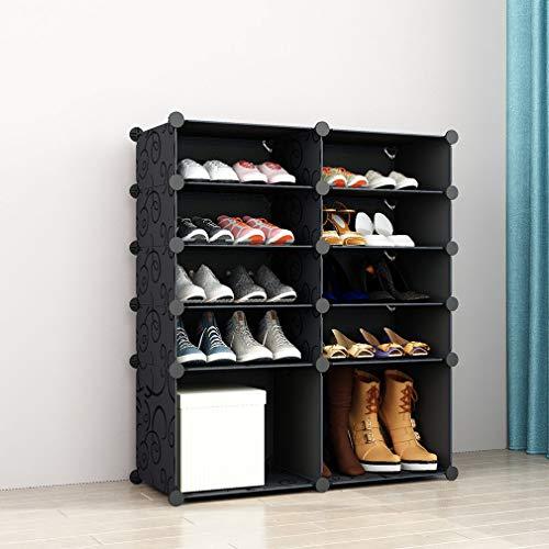 SIMPDIY Scarpiera Plastica Grande Scatola portaoggetti per Sneaker 2x5 con Boots Cube 93x37x108cm Organizzatore di Scarpe Sistema di scaffalature