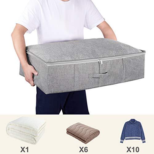 SimpleHome contenitori sottoletto in Tessuto 2 Pezzi Grande e Piatto Organizzatore Armadio Pieghevole sotto al Letto o sopra lArmadio per Lenzuola Coperte Vestiti 70 x 43 x 18 cm