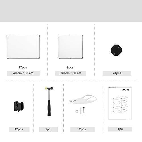 SONGMICS Armadio Modulare 83 X 31 X 93 cm Scompartimenti a Cubo Organizzatore Scarpiera Salvaspazio Portaoggetti in Plastica Camera da Letto Camera di Bambini Bianco LPC36W