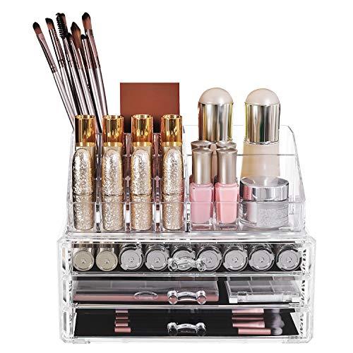 SONGMICS JKA002 Organizzatore cosmetici scatola grande acrilico trasparente 3 cassetti