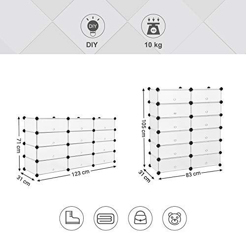 SONGMICS  LPC26W  Guardaroba Modulare Armadietto Scaffale a 6 Ripiani 2 Righe con Scompartimenti Cubi Mobiletto Traslucido 40 x 17 x 30 cm