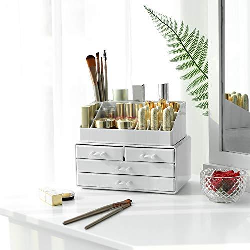 SONGMICS Organizer Acrilico con 4 cassetti per riporre i Cosmetici in Bagno in Camera da Letto Rossetti Gioielli Smalto Filo da Cucito Bianco 24 x 185 x 135 cm