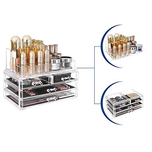 SONGMICS Organizzatore per Cosmetici Porta Trucchi con 4 Cassetti e 11 Scomparti di Diverse Dimensioni Tappetini Antiscivolo per Make Up e Gioielli Trasparente JKA001TP