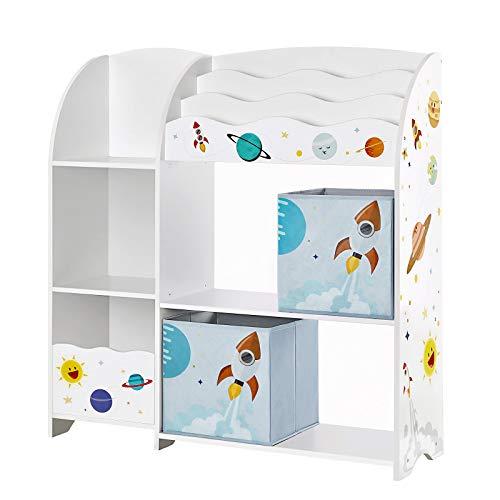 SONGMICS Organizzatore per Giocattoli Libreria per Bambini Scaffale Multifunzionale con 2 Scatole Portaoggetti Alta capacit per Camera dei Giochi Camera da Letto Soggiorno Bianco GKR42WT