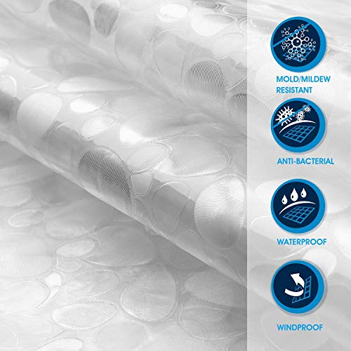 SPARIN Chiaro Tenda da Doccia 180  200CM Trasparente Anti Muffa Antibatterico Tenda da Bagno Impermeabile in Eva Ciottoli Trasparenti EcoFriendly Lavabile