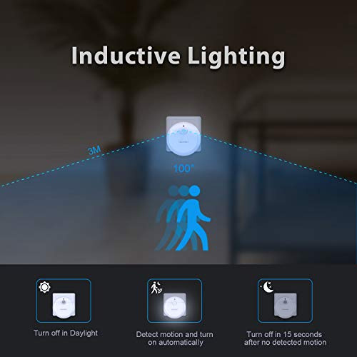 TECKNET Luce Notturna da Presa LED Luce Notte Bambini con Sensore Automatico a Risparmio Energetico per Stanza dei Bambini Camera da Letto Bagno Corridoio Armadio Energy Efficiency Class A