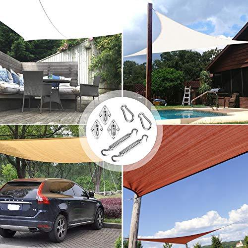 TedGem Kit di Fissaggio per Vela Parasole di Installazione per Vele parasole Moschettone viti di fissaggio Staffa a Muro Gancio forma S Viti 42pcs per Tenda a vela Rettangolare e Triangolare
