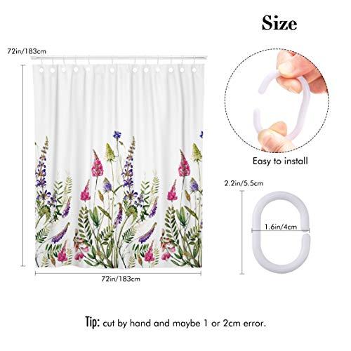 Tenda Doccia Fuloon tenda doccia Antimuffa Lavabile Poliestere Resistente Impermeabile per docce da bagno 183 x 183 cm Bianco