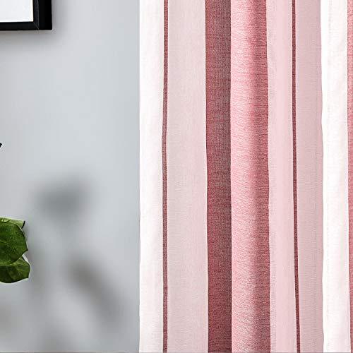 Topfinel Tende Voile Trasparente Occhielli con Strisce Per Soggiorno e Camera da letto Decorativi Finestra Balcone Casa 2 Pannelli 140x145cm Strisce Di Vino Rosso