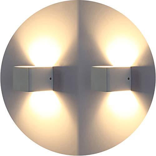 Topmoplus 2 pezzi 7 W LED luci da parete lampade da parete di alta qualit in alluminio corridoio proiettore Up e Down Design 3000K bianco caldo bianco