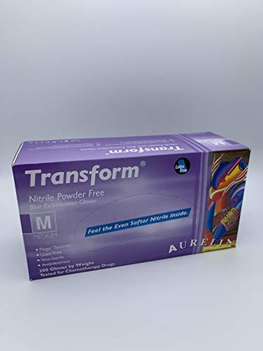 Transform  Guanti in nitrile senza polvere misura media confezione da 200 colore blu