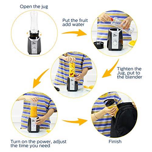Uten Frullatore Smoothie 5in1 Mini Blender Juicer Frullatore per Frutta e Verdura Frullatore Portatile con 2 Lame in Acciaio Inox e Bottiglie in Tritan per Sport Viaggi Senza BPA