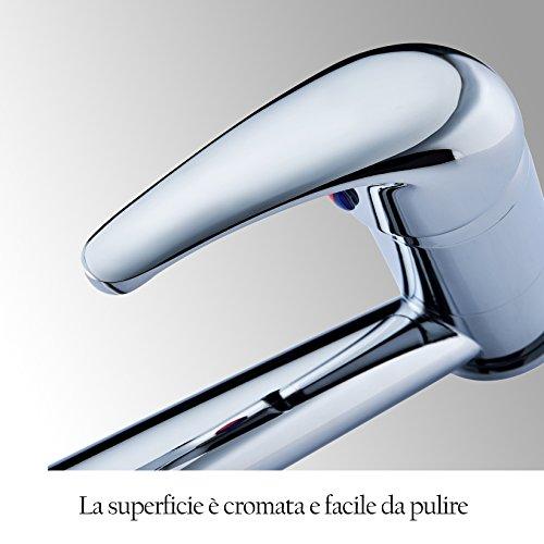 UUhome Rubinetto 360 Girevole Miscelatore Monocomando per Cucina Lavello di Ottone Cromato T06A