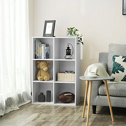 VASAGLE Libreria Scaffale Mobiletto Armadietto Mobile in Legno Pannelli di Particelle a 3 Ripiani 6 Scompartimenti Bianco LBC203D