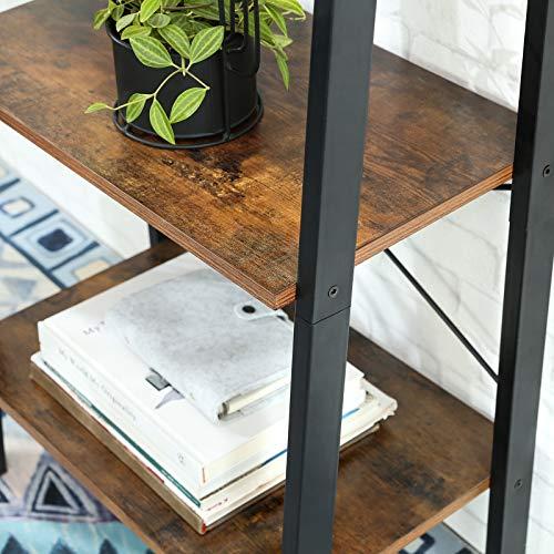 VASAGLE Scaffale a Scala Libreria a 4 Ripiani Mobile Portaoggetti con Struttura in Metallo per Soggiorno Camera da Letto Cucina Nero e Marrone Scuro LLS44X