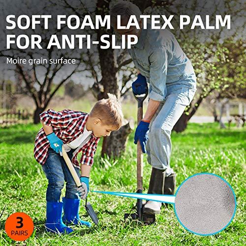 Vgo 3 paia per bambini di 35 anni guanti da lavoro per con rivestimento in lattice naturale schiumato guanti da giardinaggio KIDXXXS Viola  Verde  Blu con stampa ape KIDRB6013