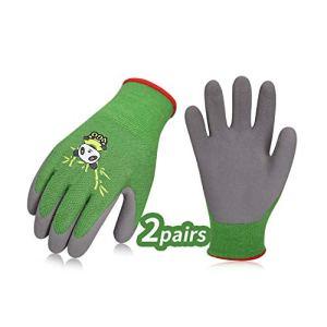 Vgo Glove Guanti 2 paia per bambini di 79 anni guanti da lavoro per bambini con rivestimento in lattice naturale schiumato guanti da giardinaggio XSVerdeKIDRB6026
