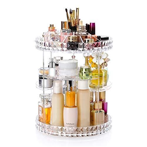 Viesap espositore cosmetico girevole da 360 gradiStoccaggio Organizzatore di truccoorganizer per vanit regolabili Scaffale da bagno organizer cosmetico da banconecontenitore cosmetico trasparente