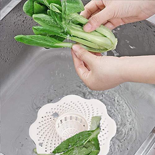 WENTS Filtro per Capelli 5 Pezzi Filtro Raccogli Capelli Hair Catcher Bagno Lavandino Colino Filtro di Scarico della Doccia Silicone Cucina Filtro Lavello Bianco