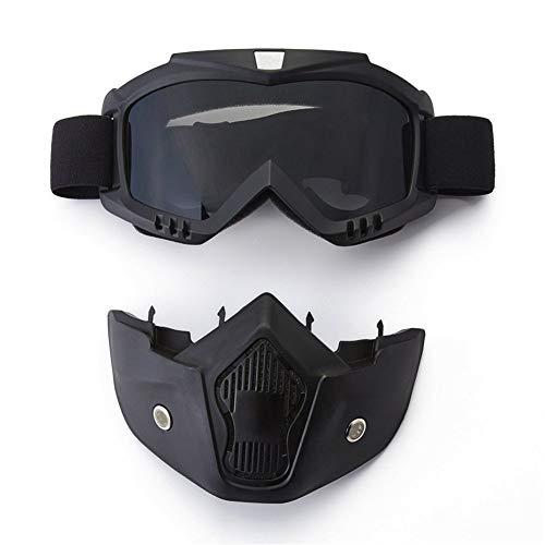 YIQI Maschera per Occhiali da Moto con Maschera Rimovibile Occhiali Rimovibili a Prova di Nebbia Caldi Filtro per la Bocca Cinturino Antiscivolo Regolabile Montatura Nera Lenti Grigie