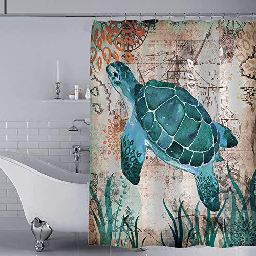YISUN Tenda da Doccia in Poliestere Tessuto Elegante Dellacquerello Lavabile Impermeabile 180x180cm Tenda da Bagno con 12 Ganci Blu Poliestere