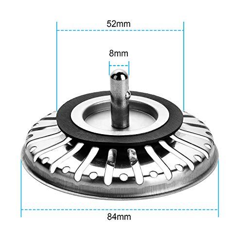 Yizhet 2 pezzi Filtro per lavello da cucinadoppio strato in acciaio INOX Filtro di scarico per scarico da 33 inch84 mm