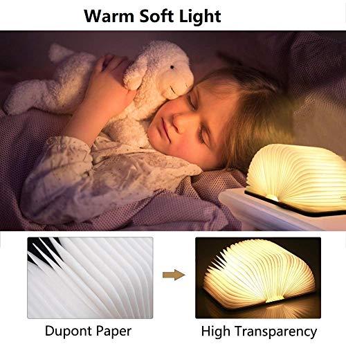 Yuanj Lampada Libro USB Ricaricabile Lampada a Forma di Libro Luce LED di Legno Decorativi Lampada da Tavolo 2500mAh Grande Lampada a Libro