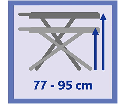 Vileda Asse da Stiro Smart Asse da Stiro Traspirante Regolabile in Altezza Blu Acciaio 132 x 42 x 95 cm Piano Stiro 114 x 34 cm