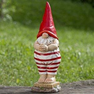 Unbekannt Decorazione, arredamento, statue da giardino - Scultura di nano, gnomo in costume da bagno - colore: bianco/rosso - ca 46 cm
