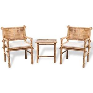 vidaXL Set 5 pz Mobili da Giardino Patio Tavolo e 2 Sedie in bambù con Cuscini