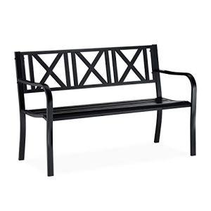 Relaxdays Panca da Giardino in Metallo 2 Posti Resistente Panchina da Balcone HxLxP 81 x 127 x 56 cm Nero