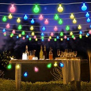 Samoleus Catena Luminosa Esterno Stringa Luci LED 7M 50 LED 8 Modi Ghirlanda Luminosa Lampadina Impermeabile con Telecomando e Timer Luci Natalizie per Interno Festa Giardino Natale Colore