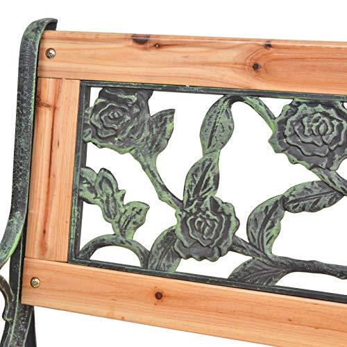 vidaXL Panchina da Giardino XL con Schienale con Rose Ghisa Panca per Esterni