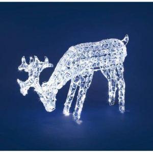 XMASKING Renna con Cristalli Che bruca lerba h 50 cm 200 LED Bianco Freddo soggetti Luminosi Figure di Natale 3D Decorazioni Natalizie